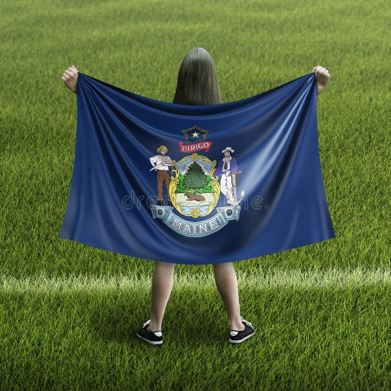 Bandera de las mujeres y de Maine imágenes de archivo libres de regalías