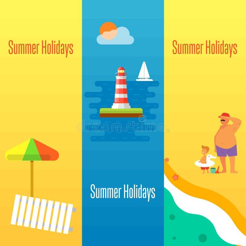 Bandera de las vacaciones de verano con el faro libre illustration