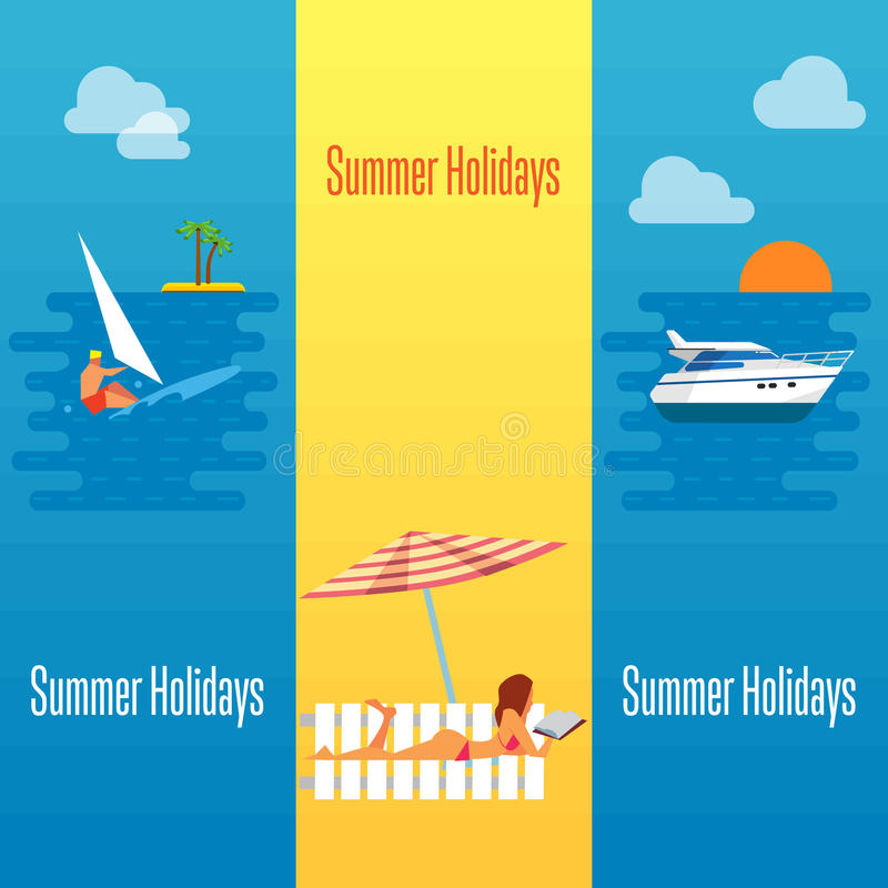 Bandera de las vacaciones de verano con la muchacha atractiva en la playa stock de ilustración