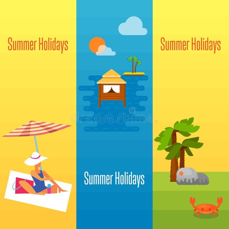 Bandera de las vacaciones de verano con las casas de planta baja del agua libre illustration