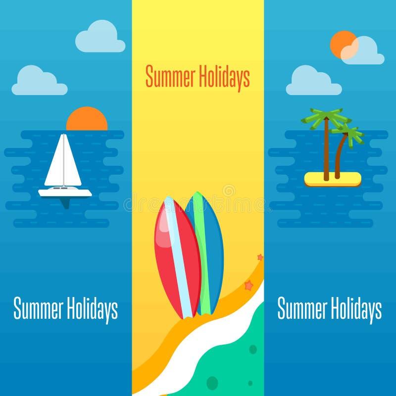 Bandera de las vacaciones de verano con las tablas hawaianas en la arena ilustración del vector