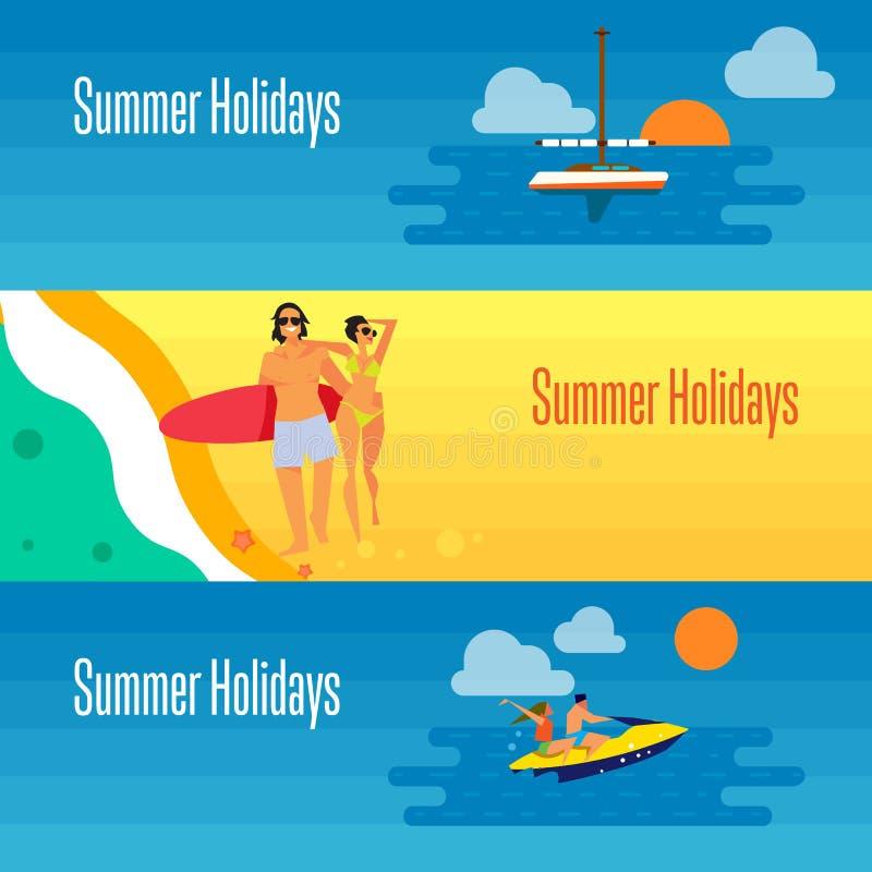 Bandera de las vacaciones de verano con los pares jovenes en la playa libre illustration