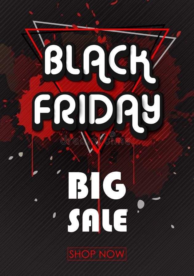 Bandera de las ventas de Black Friday con las líneas y los triángulos ilustración del vector
