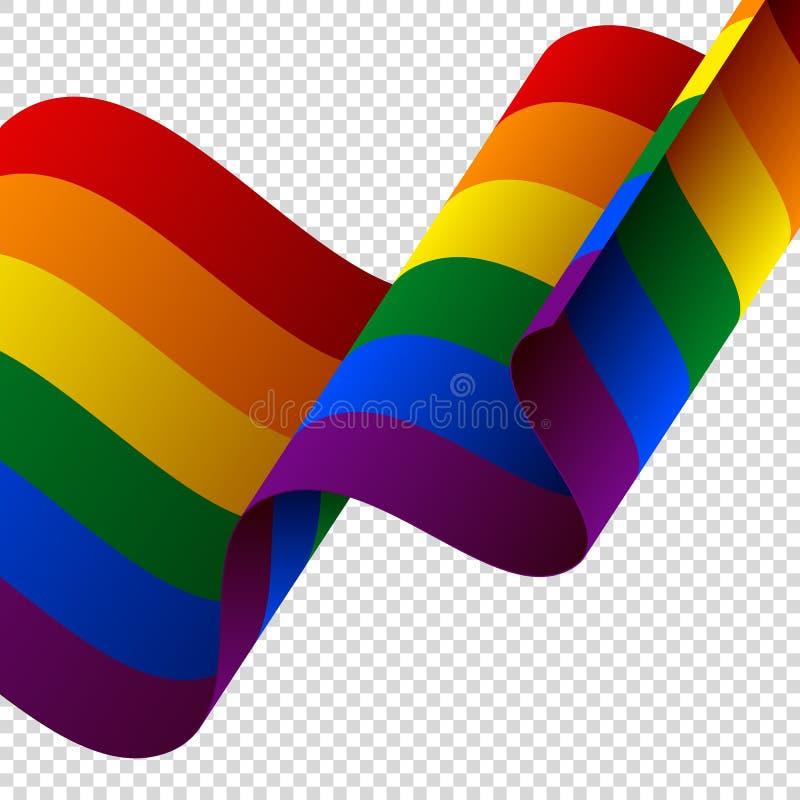 Bandera de LGBT que agita en fondo transparente Bandera del arco iris Ilustración del vector ilustración del vector