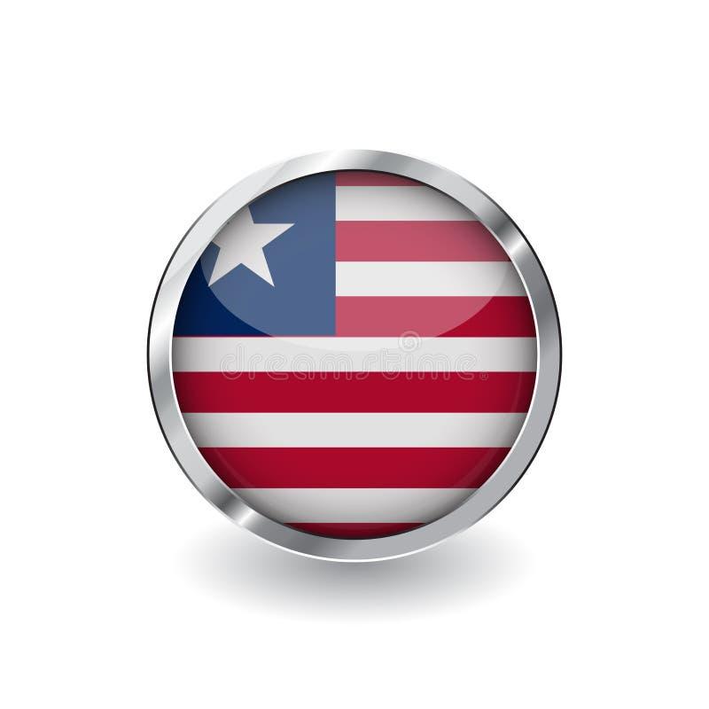 Bandera de Liberia, botón con el marco metálico y la sombra icono del vector de la bandera de Liberia, insignia con efecto brilla stock de ilustración