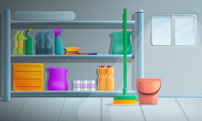 Bandera de limpieza del concepto del equipo de la casa, estilo de la historieta ilustración del vector
