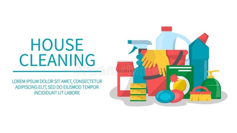 Bandera de limpieza de la web del servicio de la casa Espray, spong ilustración del vector
