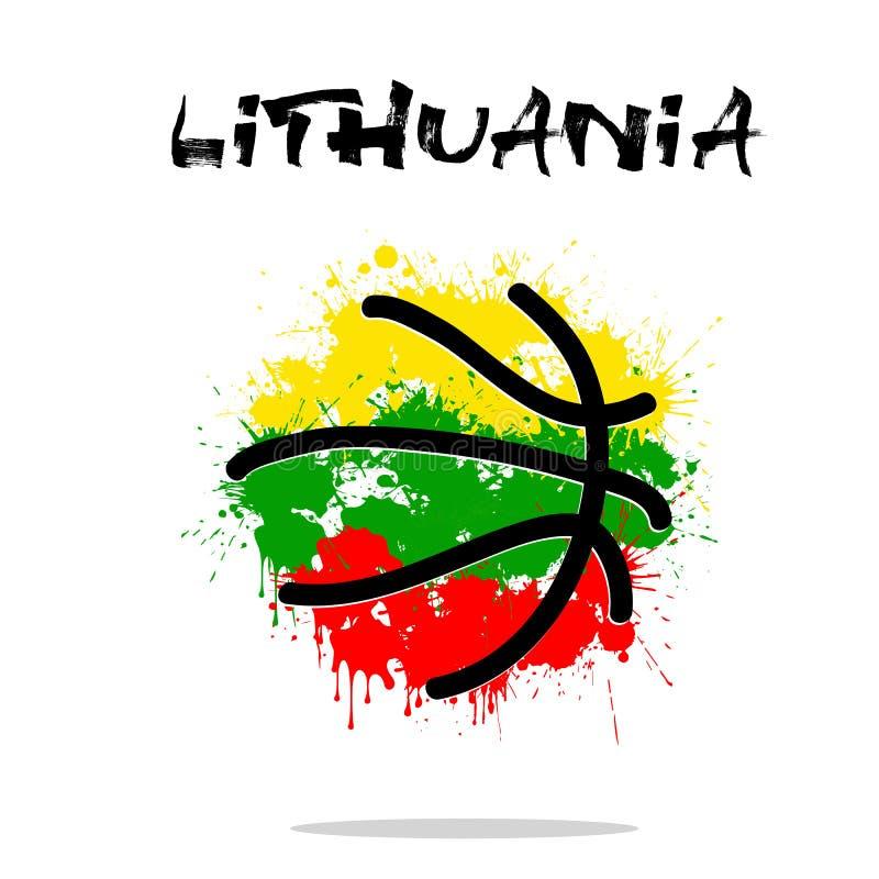 Bandera de Lituania como bola abstracta del baloncesto ilustración del vector