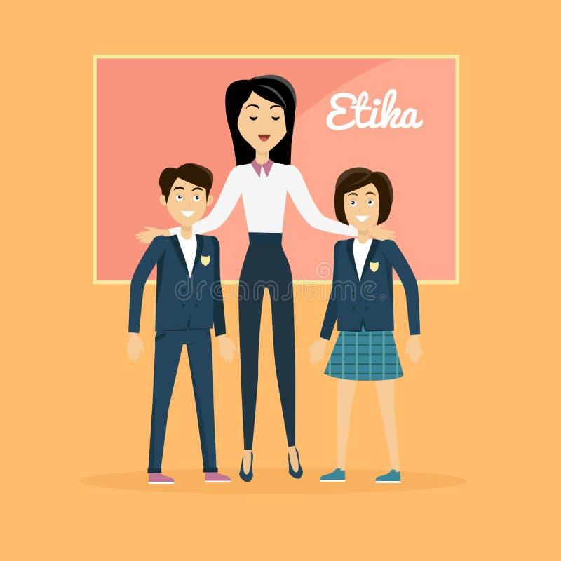 Bandera de los éticas de la educación de los niños ilustración del vector