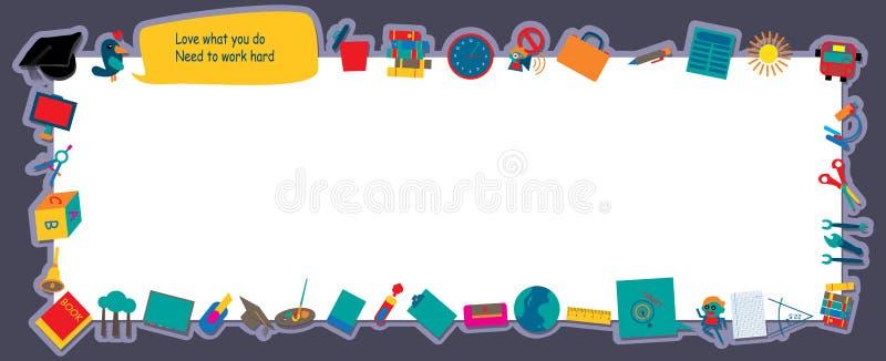 Bandera de los artículos de la educación ilustración del vector
