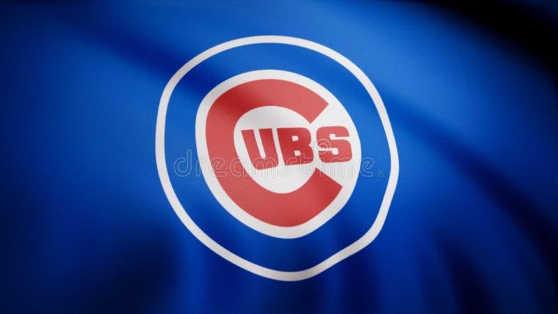 Bandera de los Chicago Cubs, equipo de béisbol profesional americano Logotipo del equipo de los Chicago Cubs del béisbol, lazo in fotografía de archivo libre de regalías