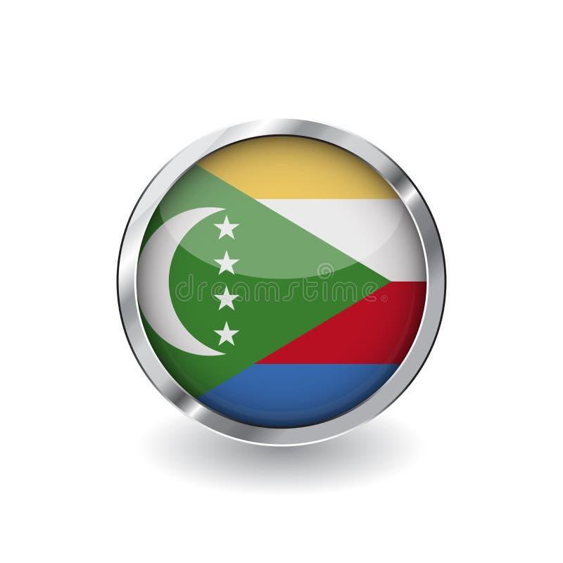 Bandera de los Comoro, botón con el marco metálico y la sombra icono del vector de la bandera de los Comoro, insignia con efecto  libre illustration