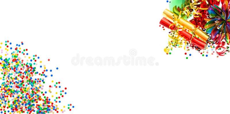 Bandera de los días de fiesta Guirnaldas, serpentina y confeti imagen de archivo
