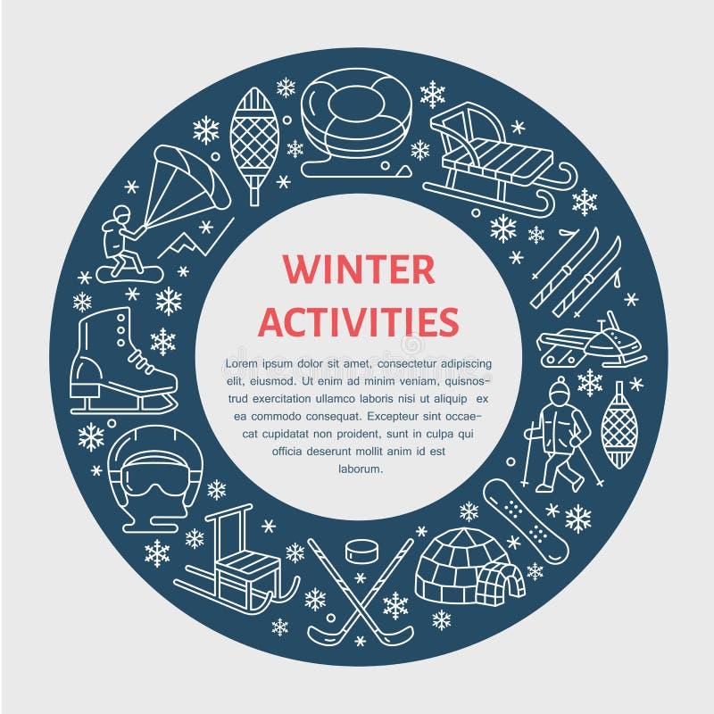 Bandera de los deportes de invierno, alquiler del equipo en la estación de esquí Línea del vector ilustración del vector