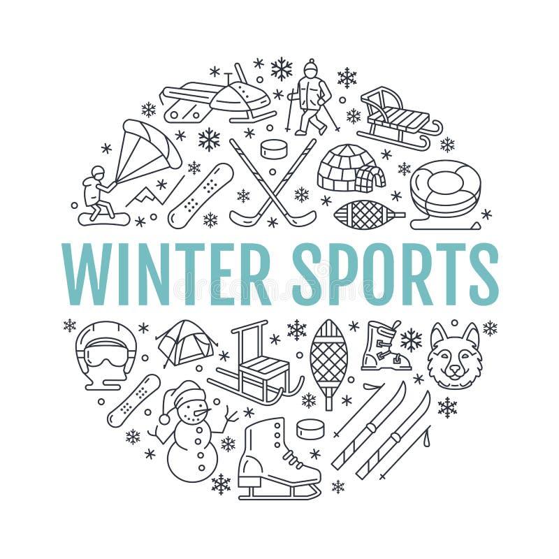 Bandera de los deportes de invierno, alquiler del equipo en la estación de esquí Línea icono del vector de patines stock de ilustración