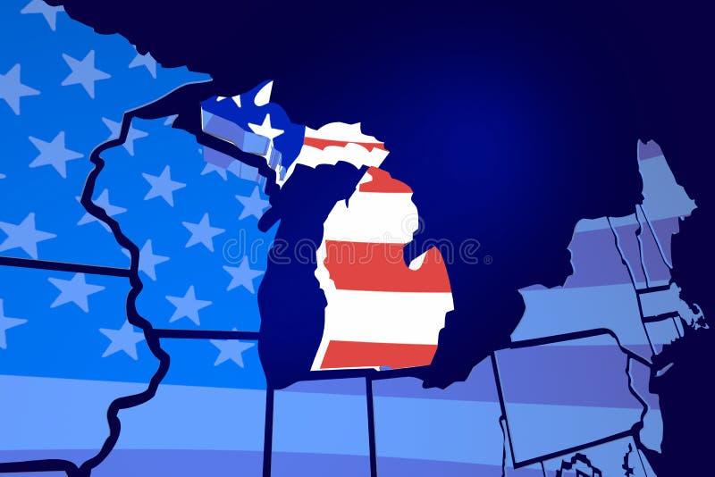 Bandera de los E.E.U.U. Estados Unidos América del mapa del estado de Michigan ilustración del vector