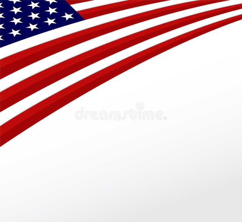 Bandera de los E.E.U.U. Estados Unidos señalan el fondo por medio de una bandera. Vector ilustración del vector