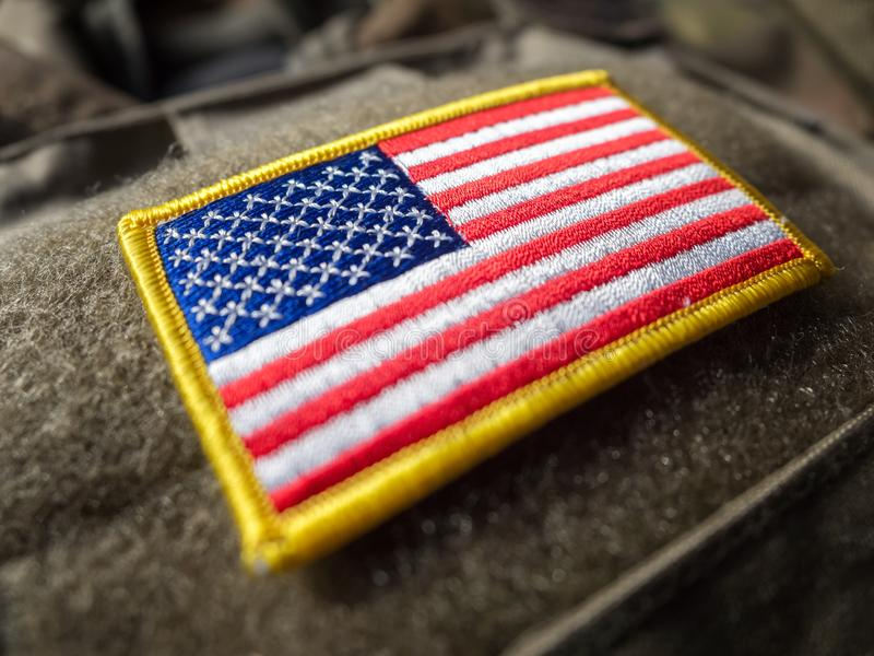 Bandera de los E.E.U.U. en el chaleco a prueba de balas imágenes de archivo libres de regalías