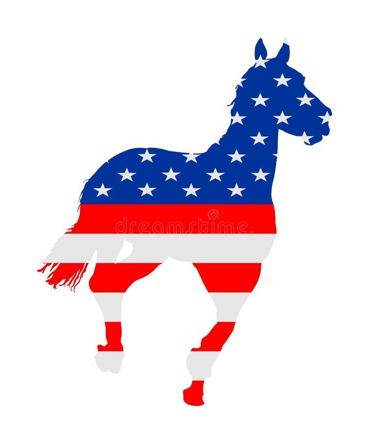 Bandera de los E.E.U.U. sobre caballo que compite con elegante en el ejemplo del vector del galope aislado en blanco Entretenimie ilustración del vector