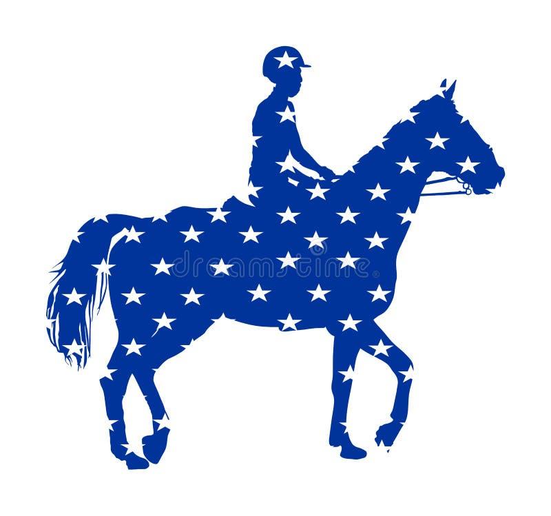 Bandera de los E.E.U.U. sobre caballo que compite con elegante en el ejemplo del vector del galope aislado en blanco Entretenimie stock de ilustración