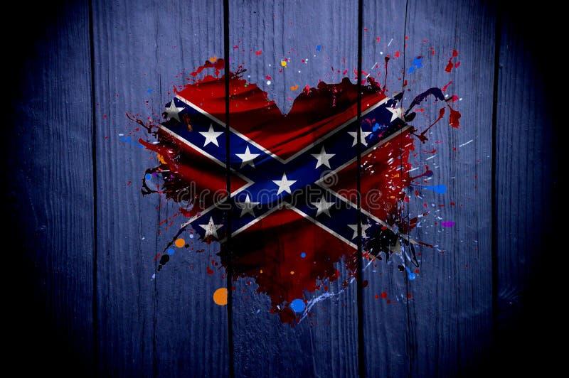 Bandera de los estados de América confederados en la forma de un corazón en un fondo oscuro foto de archivo libre de regalías