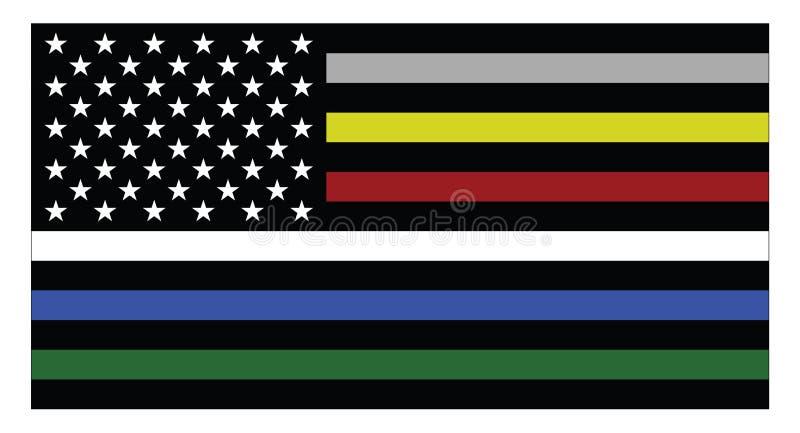 Bandera de los Estados Unidos de América con las líneas coloreadas finas stock de ilustración
