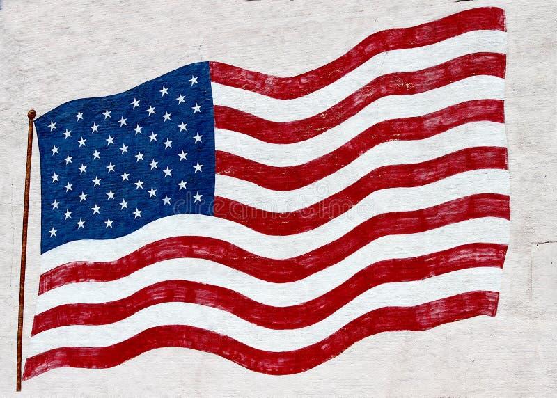 Bandera de los Estados Unidos de América pintada en una pared ilustración del vector