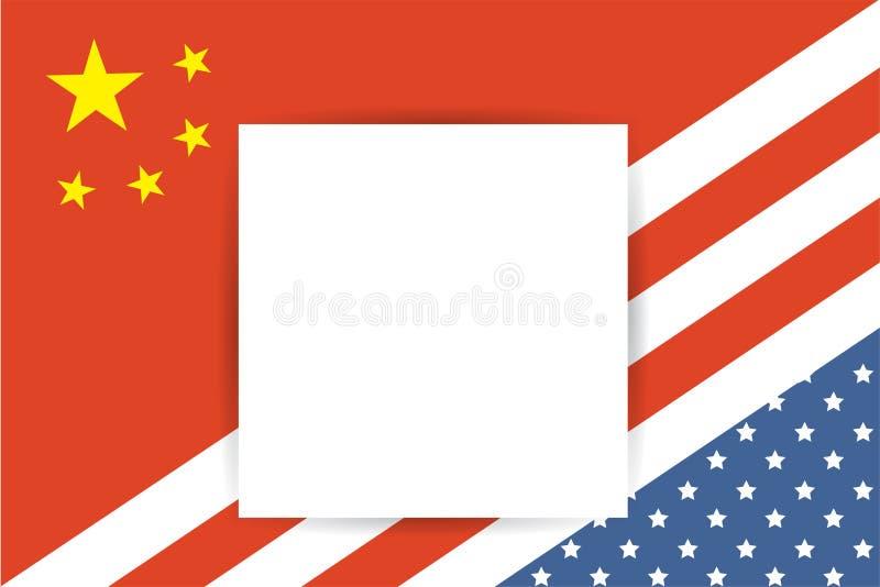 Bandera de los Estados Unidos de América y bandera de China así como el lugar para su texto ilustración del vector
