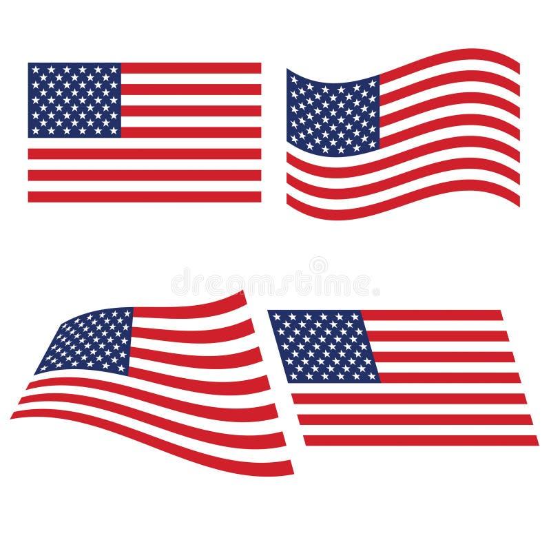 Bandera de los Estados Unidos en diversas variantes del doblez stock de ilustración
