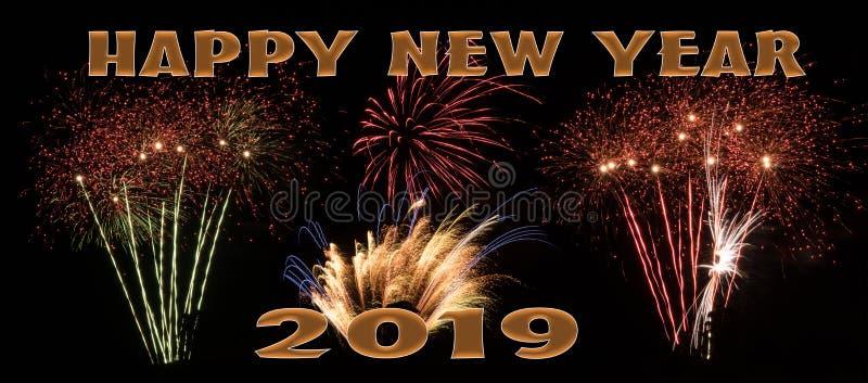 Bandera de los fuegos artificiales de la Feliz Año Nuevo 2019 libre illustration
