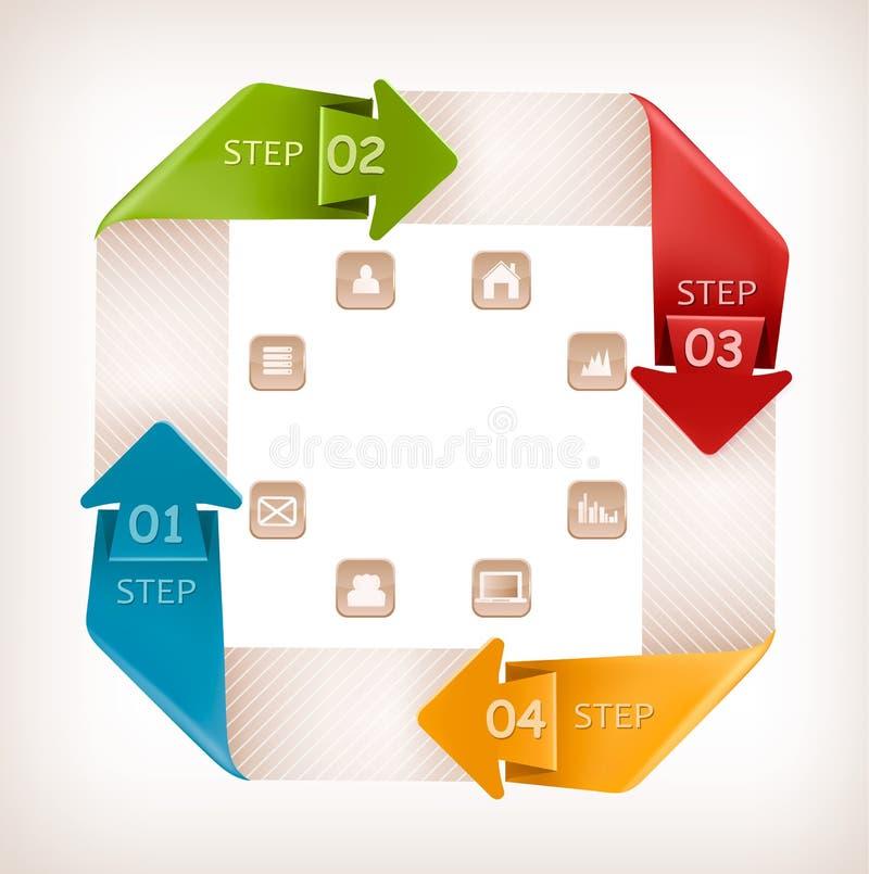 Bandera de los gráficos de la información con los iconos. Temporeros retros del diseño stock de ilustración