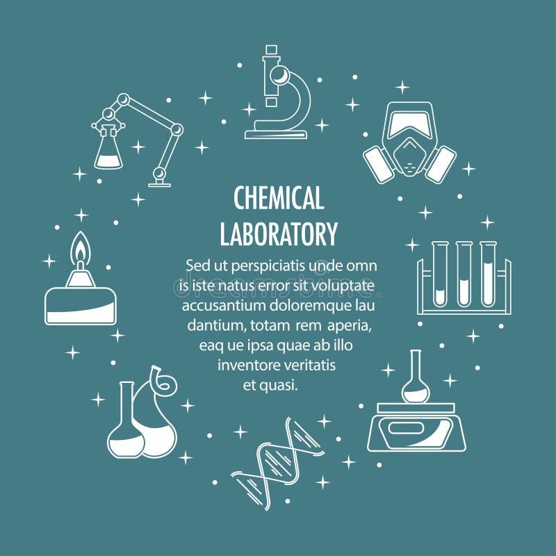 Bandera de los iconos de la química stock de ilustración