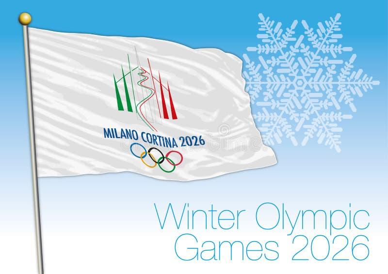 Bandera de los juegos de olimpiada de invierno 2026, Milano y cortina, Italia libre illustration