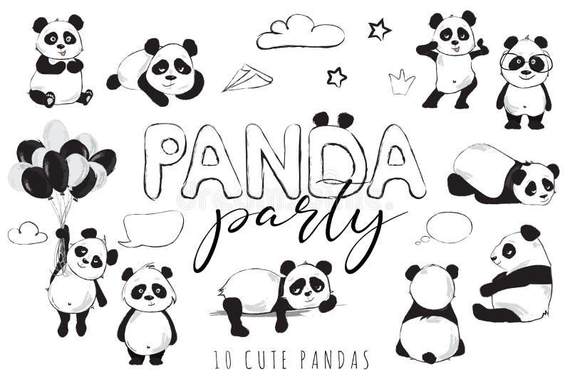 Bandera de los osos de panda con los animales, el partido de la panda de la inscripción y los globos lindos ilustración del vector