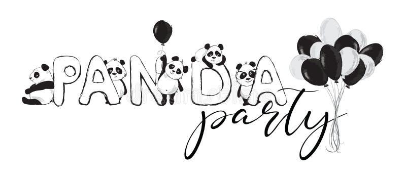 Bandera de los osos de panda con los animales, el partido de la panda de la inscripci?n y los globos lindos ilustración del vector