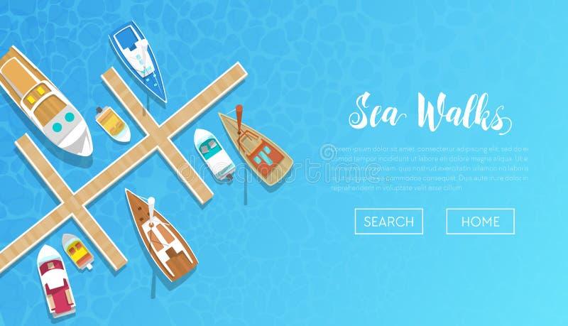 Bandera de los paseos del mar con el anuncio del viaje que navega Yates y viaje del barco Vare las vacaciones ilustración del vector