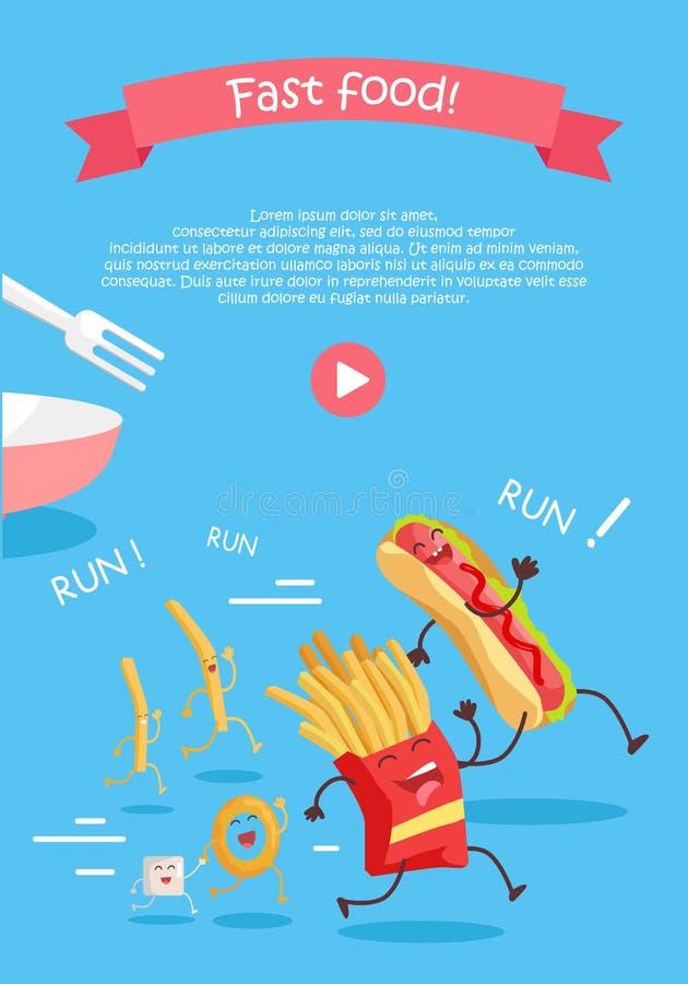 Bandera de los personajes de dibujos animados de los alimentos de preparación rápida stock de ilustración