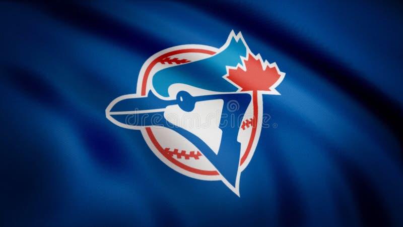 Bandera de los Toronto Blue Jays del béisbol, logotipo americano del equipo de béisbol profesional, lazo inconsútil Animación edi libre illustration
