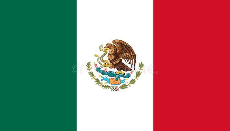Bandera de México en colores oficiales y con la relación de aspecto de 4:7 ilustración del vector