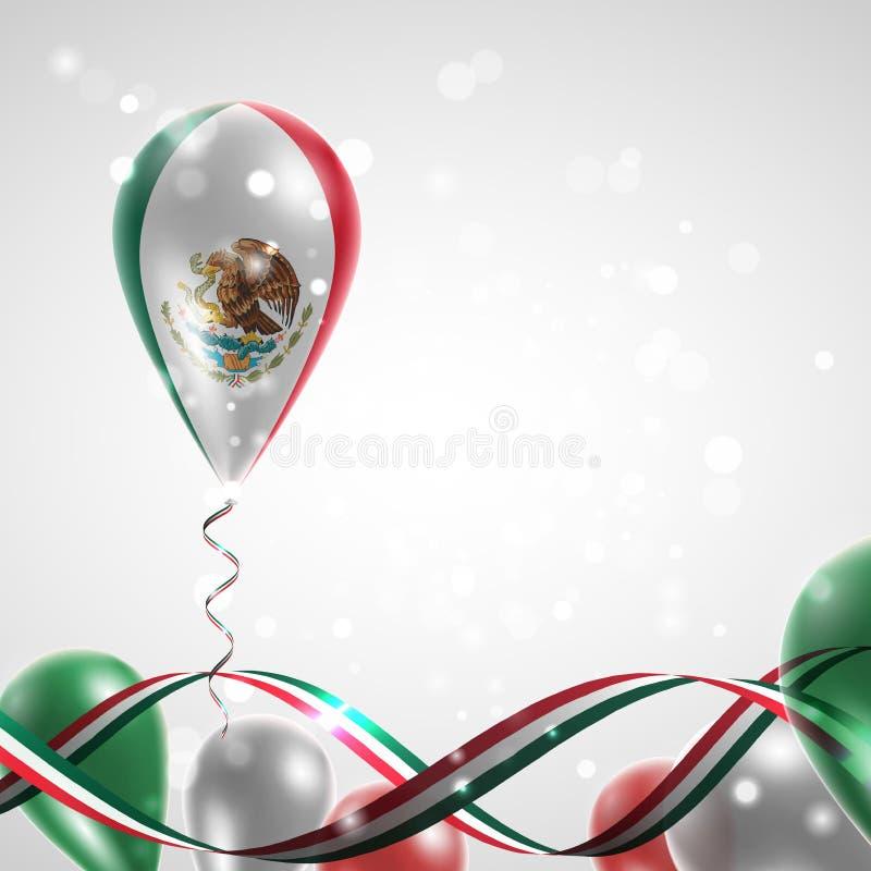 Bandera de México en el globo ilustración del vector