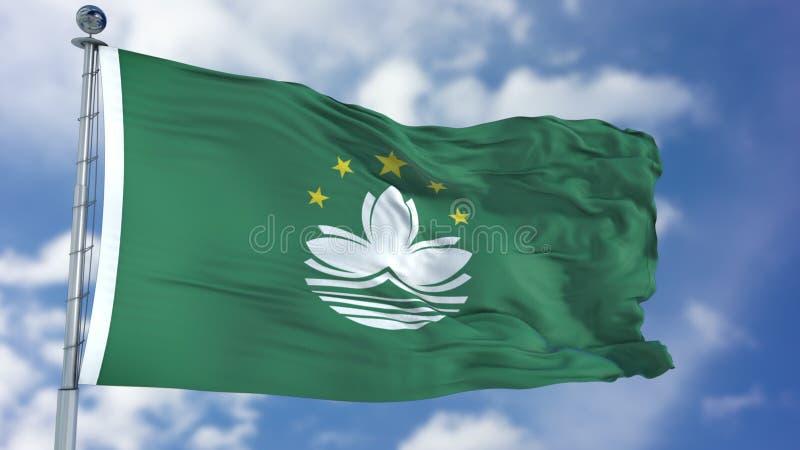 Bandera de Macao en un cielo azul fotos de archivo libres de regalías