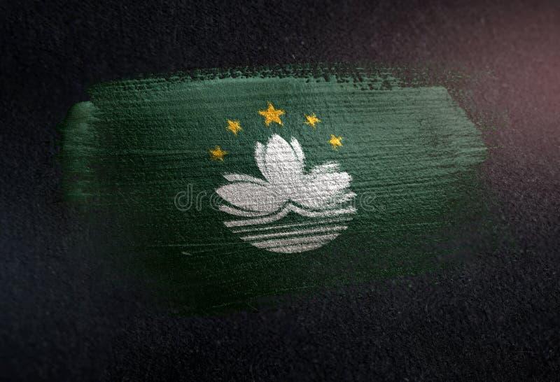 Bandera de Macao hecha de la pintura metálica del cepillo en la pared de la oscuridad del Grunge foto de archivo libre de regalías