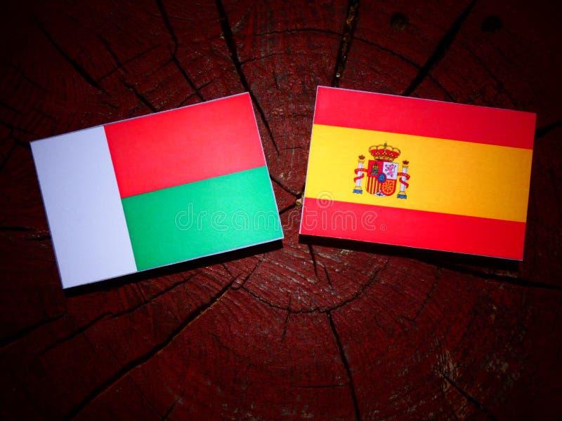 Bandera de Madagascar con la bandera española en un tocón de árbol fotografía de archivo