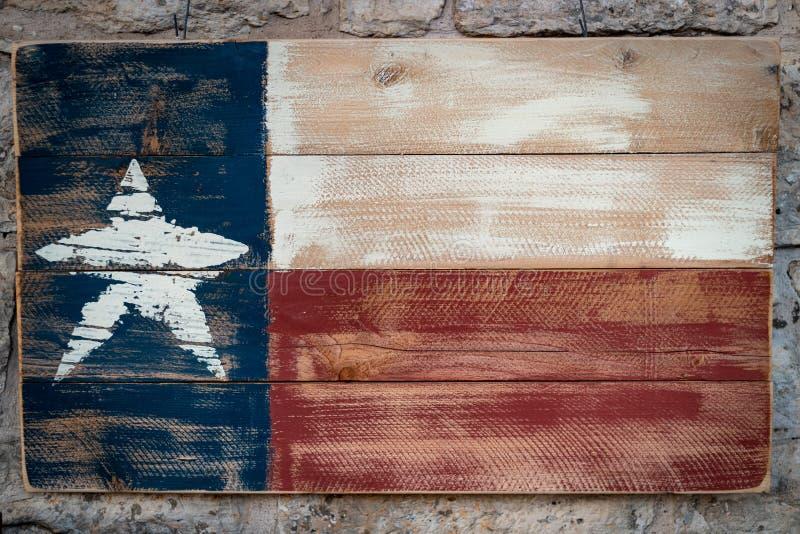 Bandera de madera de Tejas fotografía de archivo