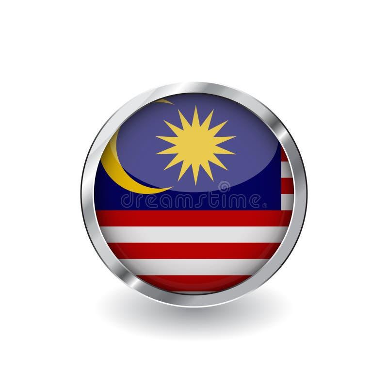Bandera de Malasia, botón con el marco metálico y la sombra icono del vector de la bandera de Malasia, insignia con efecto brilla stock de ilustración