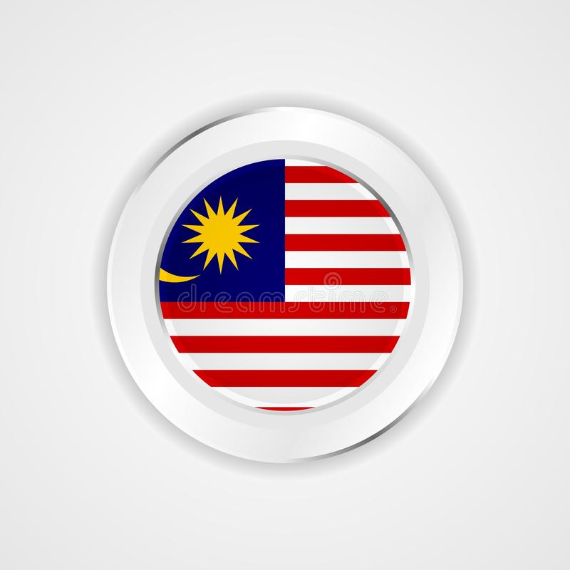Bandera de Malasia en icono brillante libre illustration