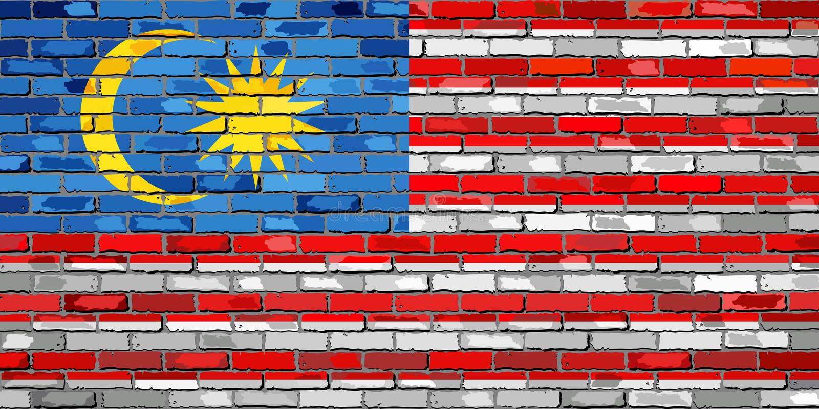 Bandera de Malasia en una pared de ladrillo libre illustration
