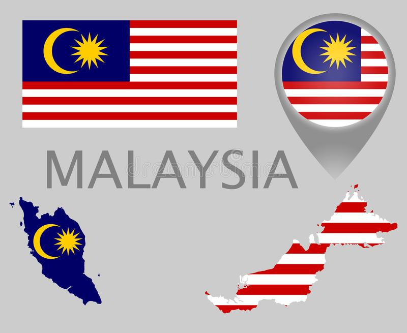 Bandera de Malasia, mapa e indicador del mapa stock de ilustración