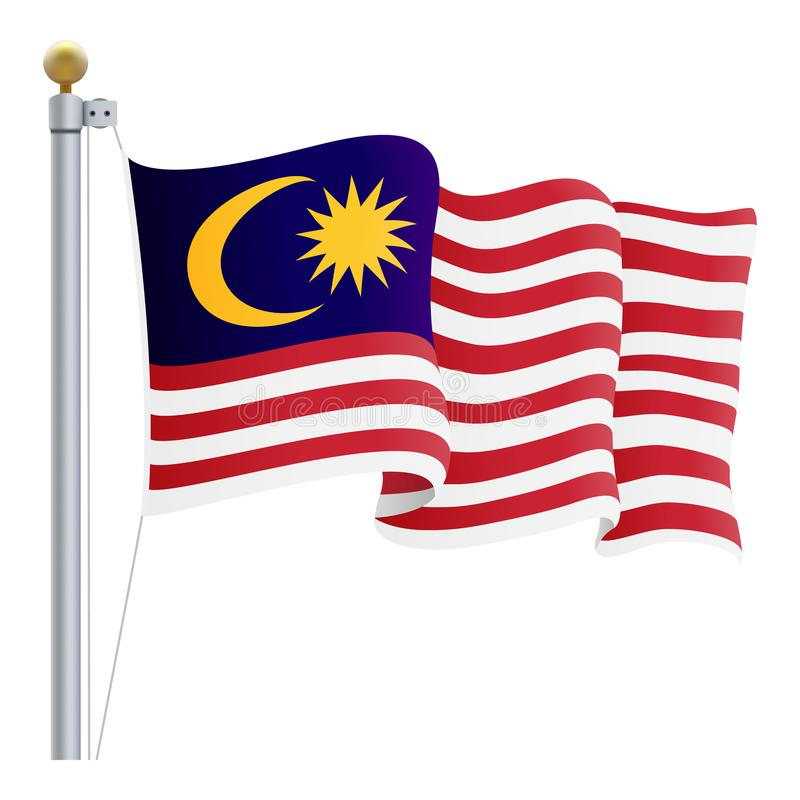 Bandera de Malasia que agita aislada en un fondo blanco Ilustración del vector stock de ilustración