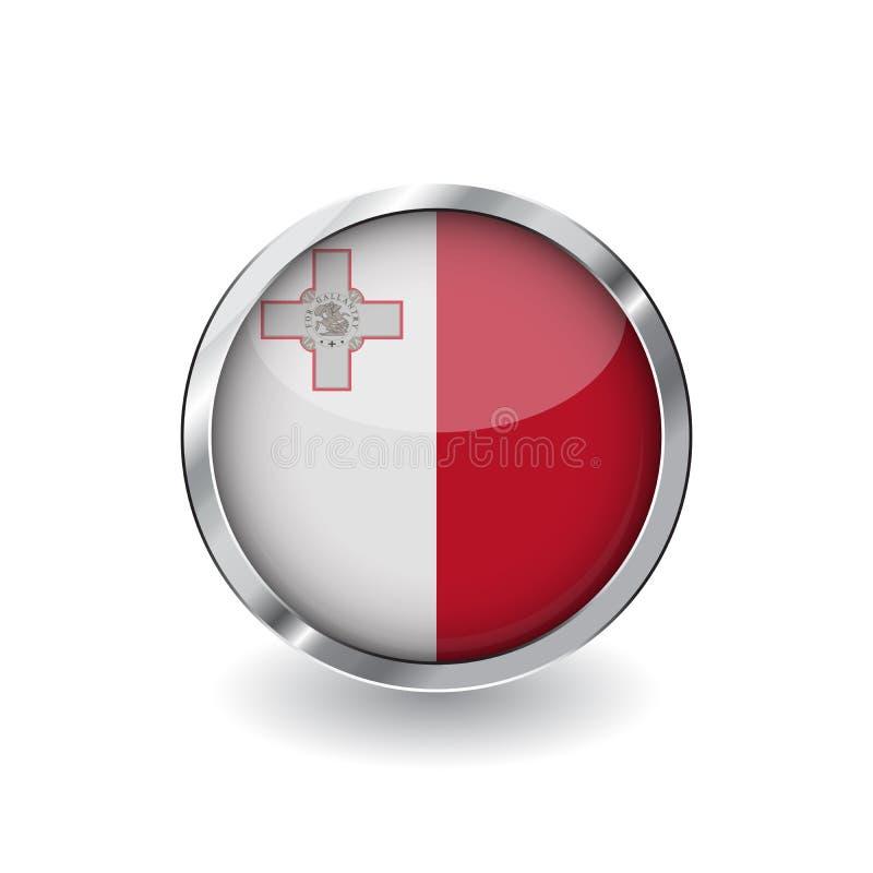 Bandera de Malta, botón con el marco metálico y la sombra icono del vector de la bandera de Malta, insignia con efecto brillante  ilustración del vector